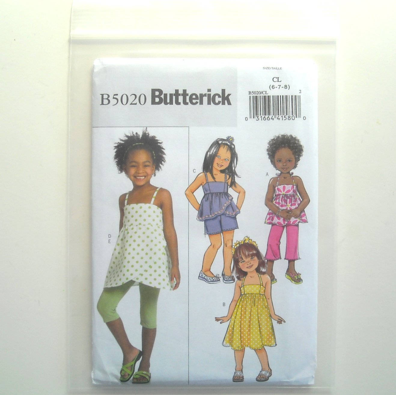 Butterick Pattern B5020 Size 6 - 8 Easy Childrens Girls Top Dress Shorts Pants Leggings