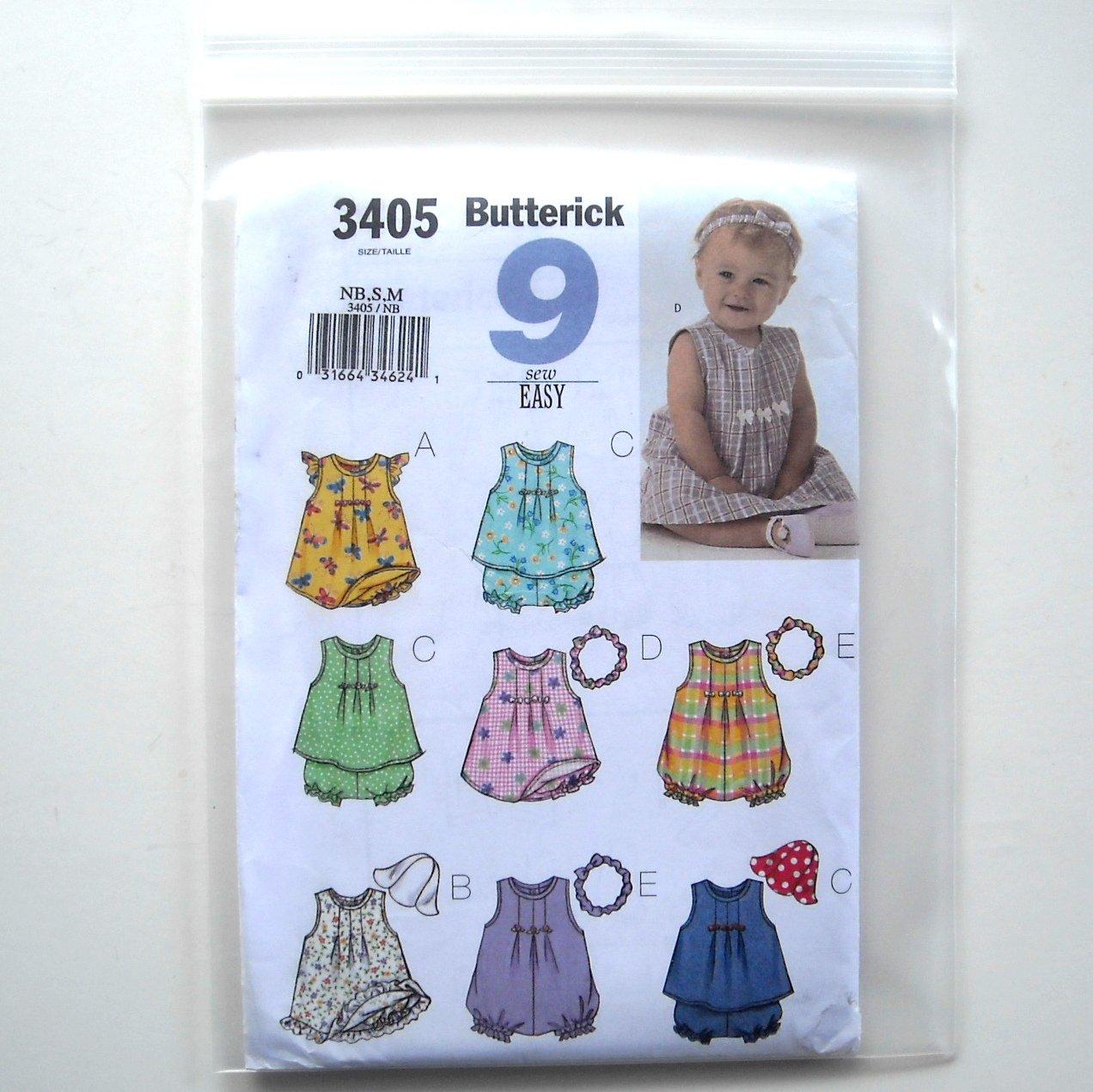 9 Easy Infants Dress Top Romper Panties Hat Headband Butterick Pattern B3405