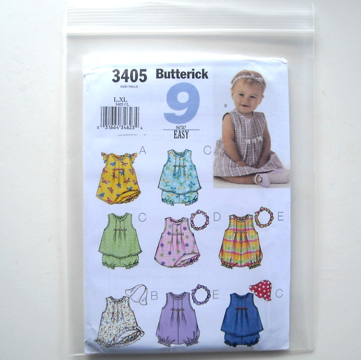 9 Easy Infants Dress Top Romper Panties Hat Headband Size L  XL Butterick Pattern B3405