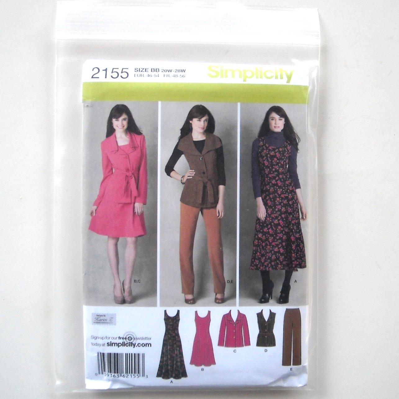 Misses Plus Size Sportswear Jumper Jacket Vest 20W - 28W Simplicity Pattern 2155
