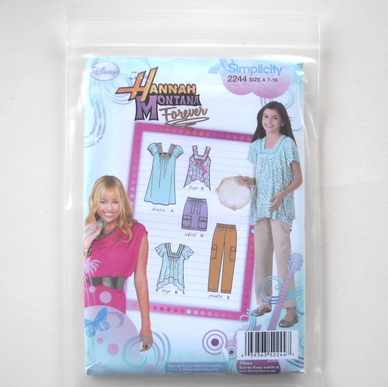 Simplicity Pattern 2244 Size 7 - 16 Disney Hannah Montana Girls Pants Skirt Dress