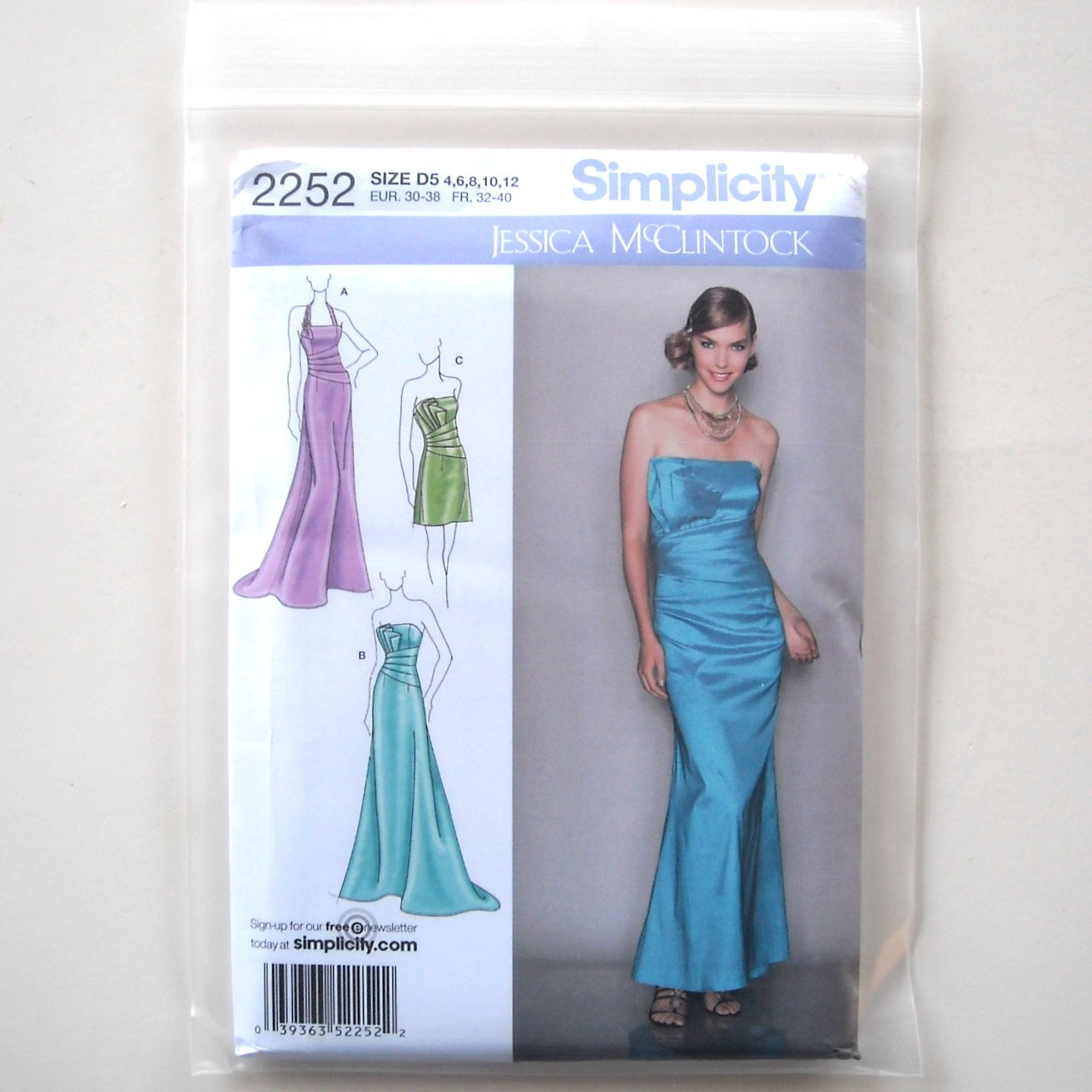 Simplicity Pattern 2252 Size 4 - 12 Jessica McClintock Collection Misses Evening Dresses