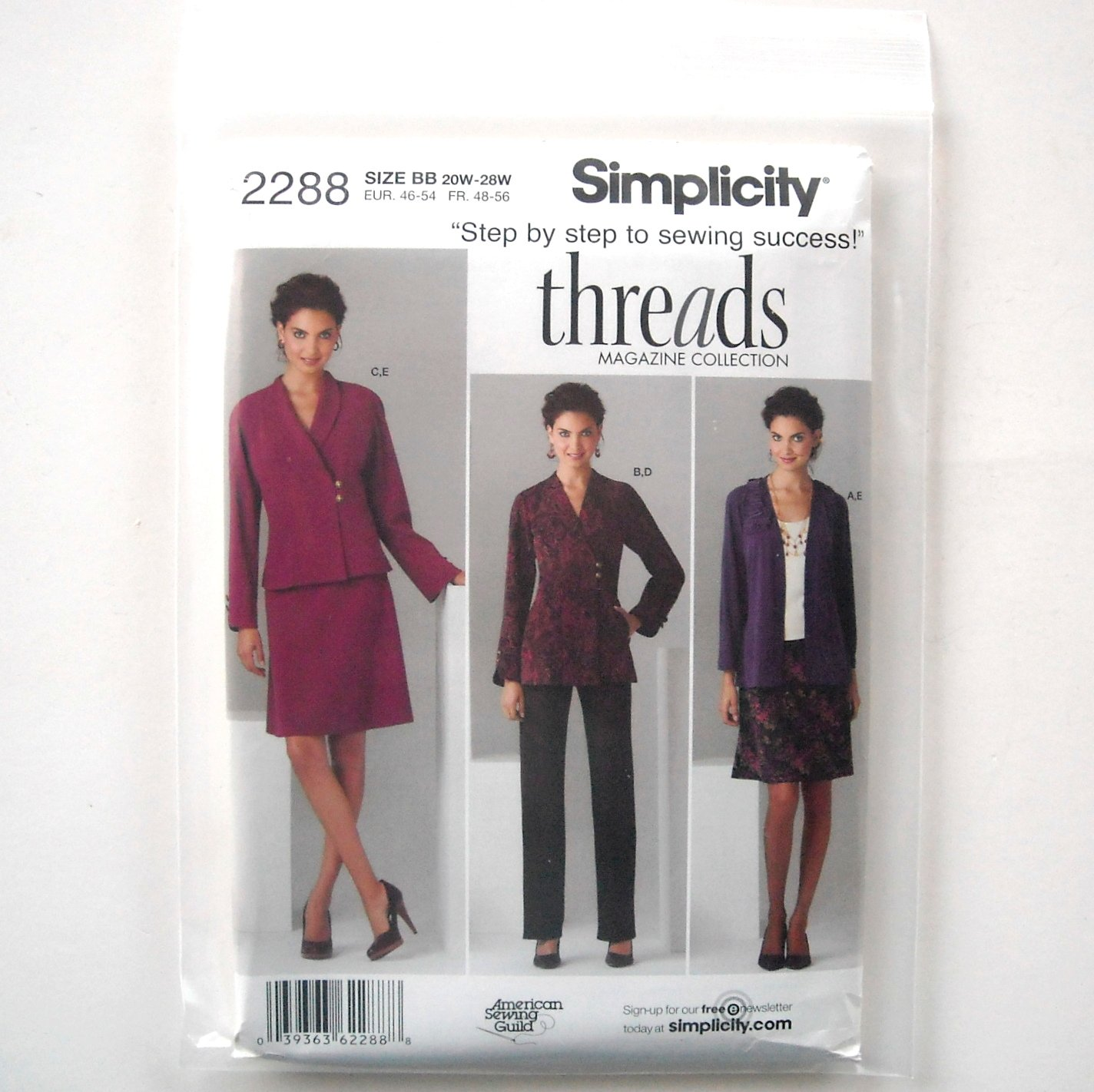 Simplicity Pattern 2288 Size 20W - 28W Threads American Sewing Guild Misses Plus Jacket Pants Skirt
