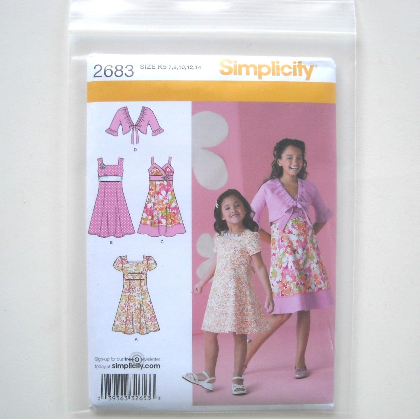 Simplicity Pattern 2683 Size 7 - 14 Child Girl Dresses Jacket