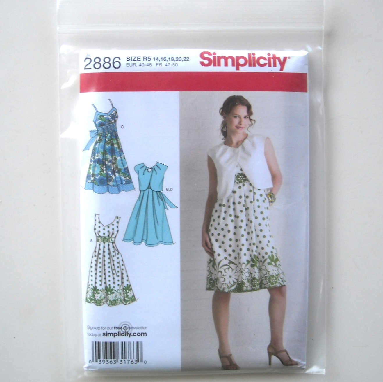 Misses Dress Bolero Variations 14 - 22 Simplicity Pattern 2886