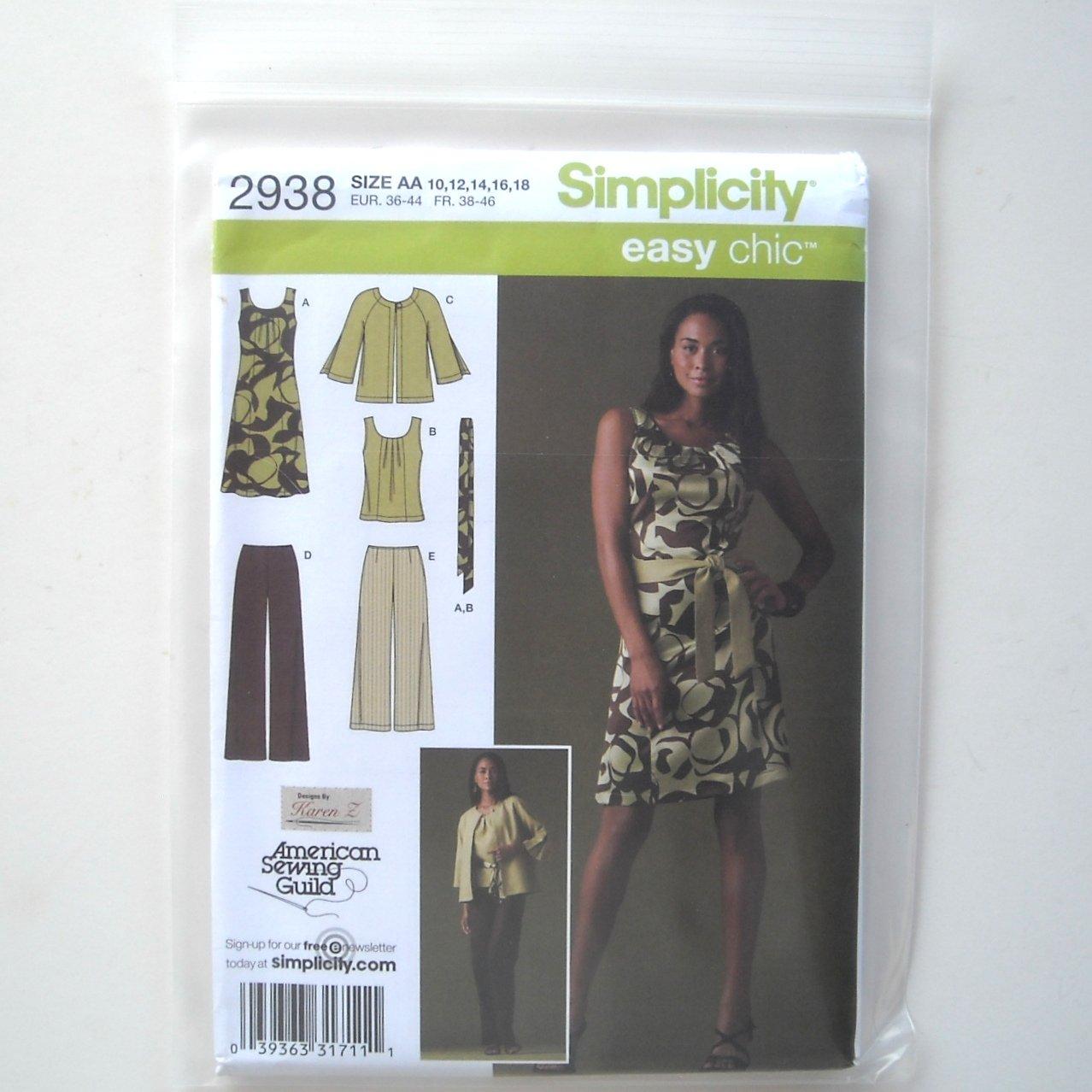 Simplicity Pattern 2938 Size 10 - 18 Karen Z Design Womens Misses Dress Top Pants Jacket