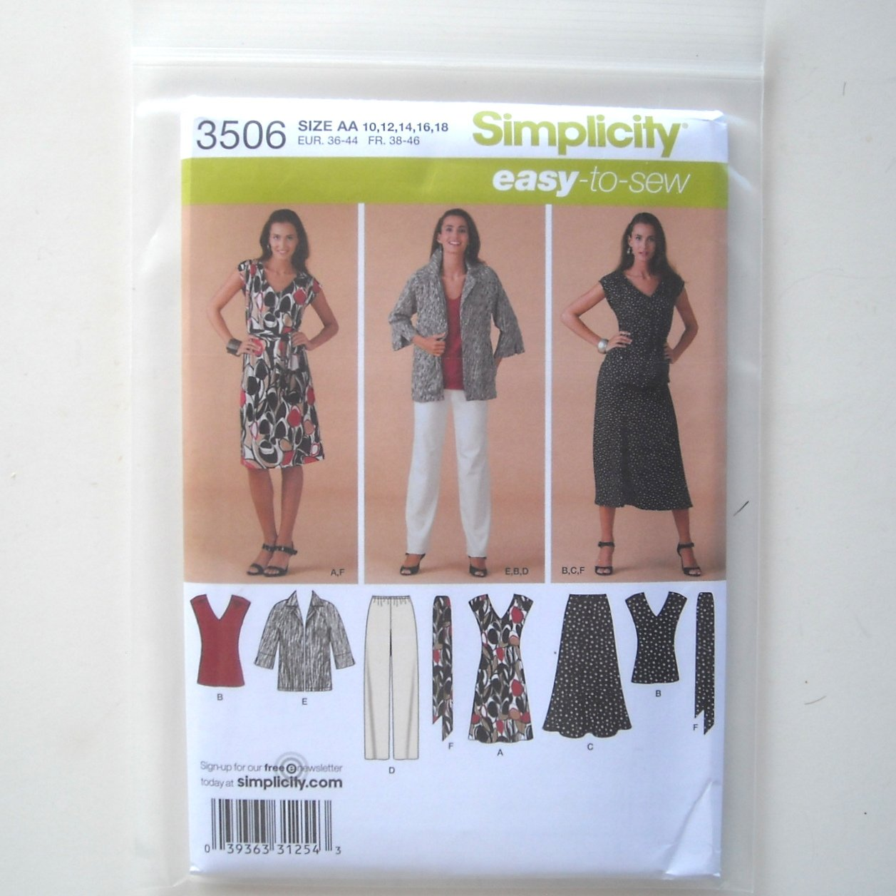 Simplicity Pattern 3506 Size 10 - 18 Easy To Sew Misses Womens Dress Top Skirt Pants Jacket