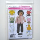 """Simplicity Pattern 4297 One Size Wrights Elaine Heigl Design 18"""" Doll Clothes Tops Skirts Hoodie"""