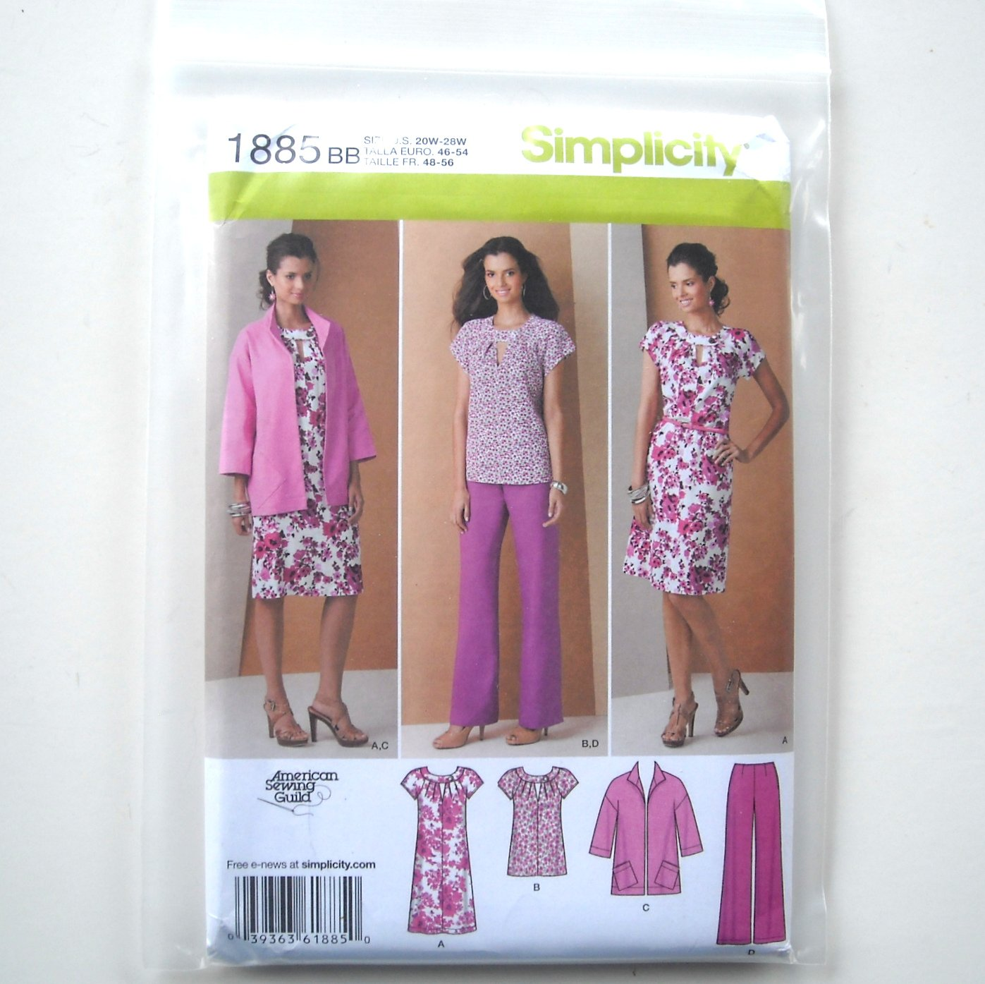 Misses Womens Pullover Dress Tunic Plus Size 20W - 28W American Sewing Guild Simplicity Pattern 1885