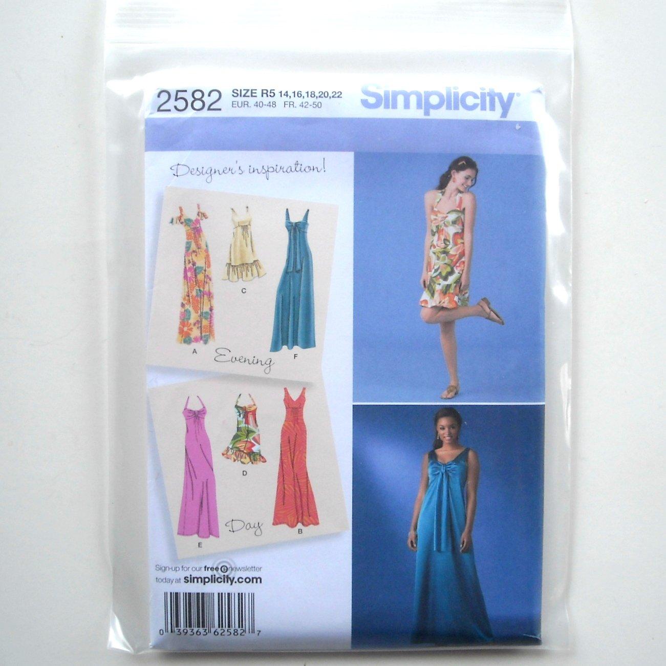 Simplicity Pattern 2582 Size 14 - 22 Designer's Inspiration Misses Miss Petite Day Evening Dresses
