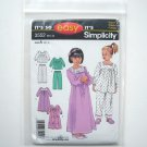 Simplicity Pattern 3552 Size 1/2 - 4 It's So Easy Toddlers Kids Pajamas Nightgown