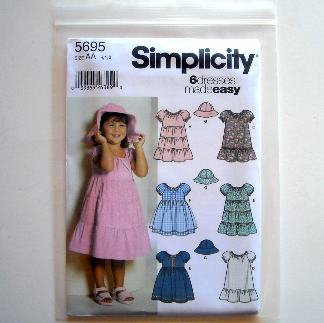 Toddlers Girls 6 Dresses Made Easy Size 1/2 - 2 Simplicity Pattern 5695
