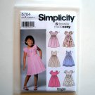 Childs Girls 6 Dresses Made Easy Size 3 - 8 Wrights Simplicity Pattern 5704