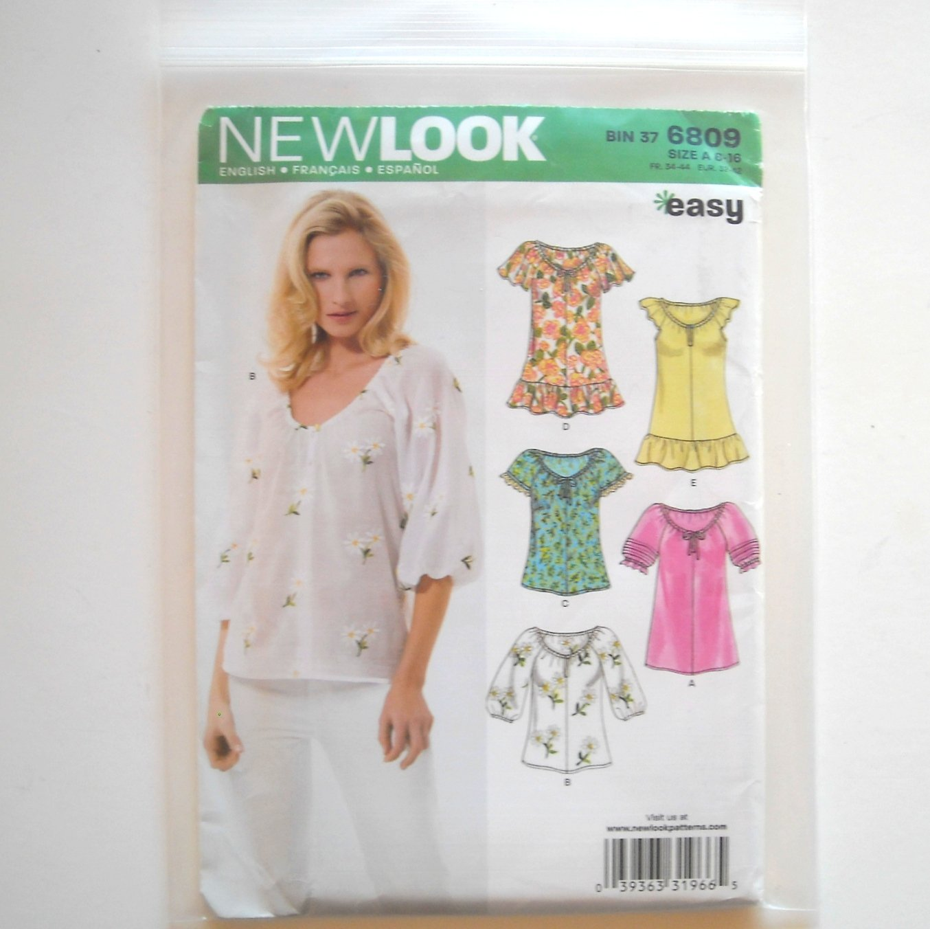 New Look Simplicity Pattern 6809 Size 6 - 16 Womens Misses Blouse Tops