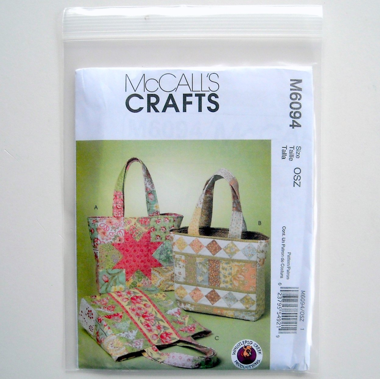 Whistlepig Creek Crafts 3 Bags McCall Sewing Pattern M6094