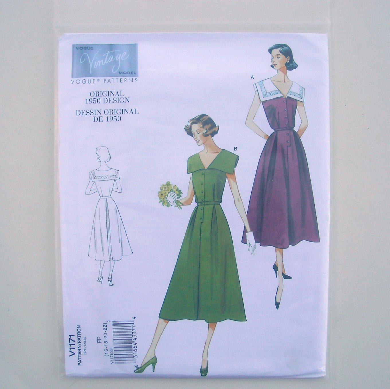 Vogue Vintage Pattern V1171 Out Of Print Original 1950 Design Size 16 - 22 Dress and Belt