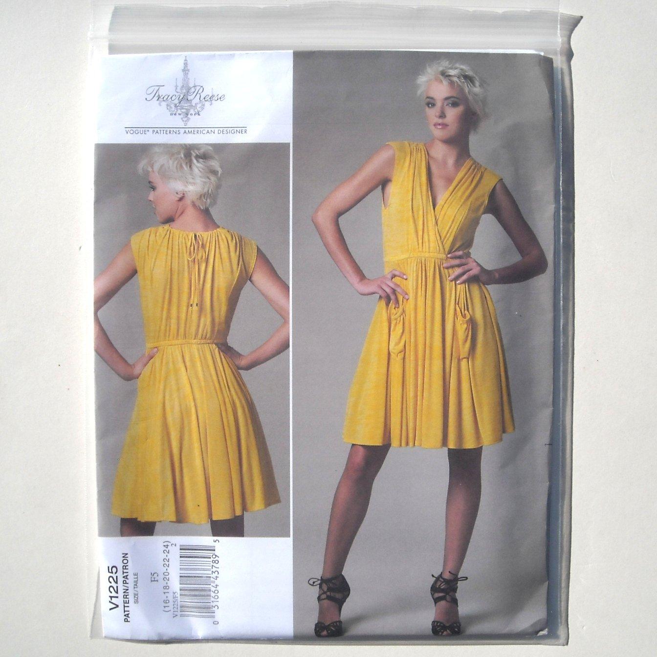 Vogue Designer Pattern V1225 Out Of Print Tracy Reese Size 16 - 24 Misses Dress