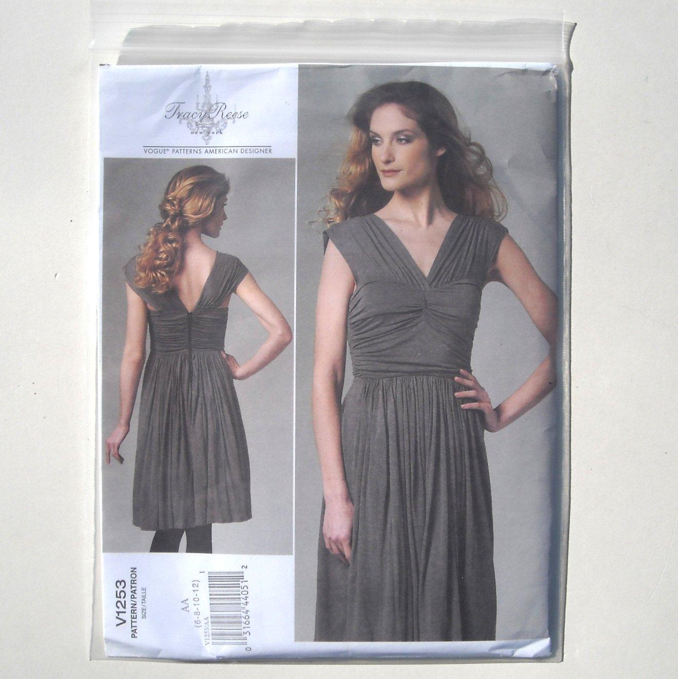 Misses Dress 6 8 10 12 Tracy Reese Vogue Designer Pattern V1253