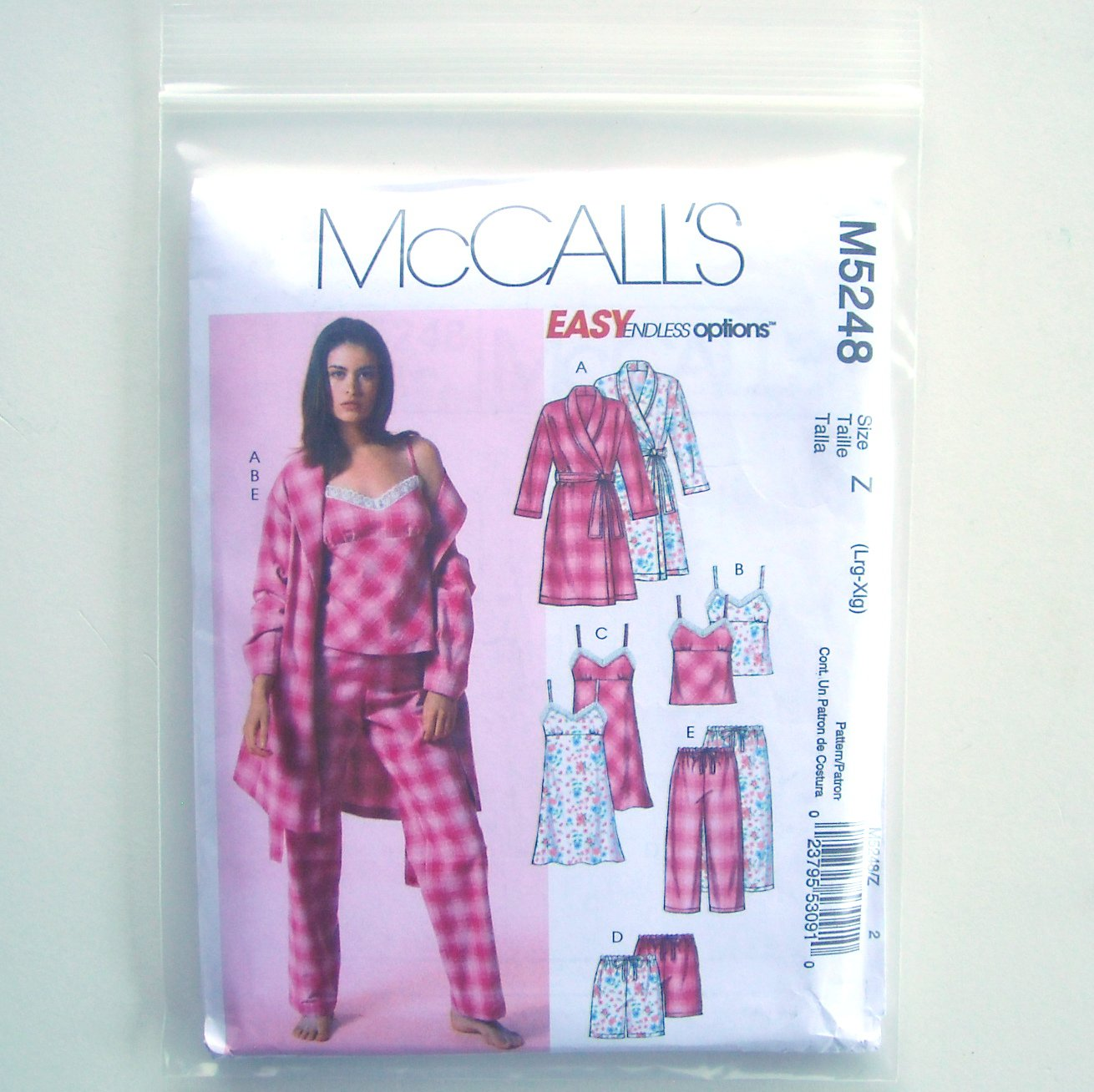 McCall Sewing Pattern M5248 Size L - XL Misses Robe Belt Top Nightgown Shorts Pants