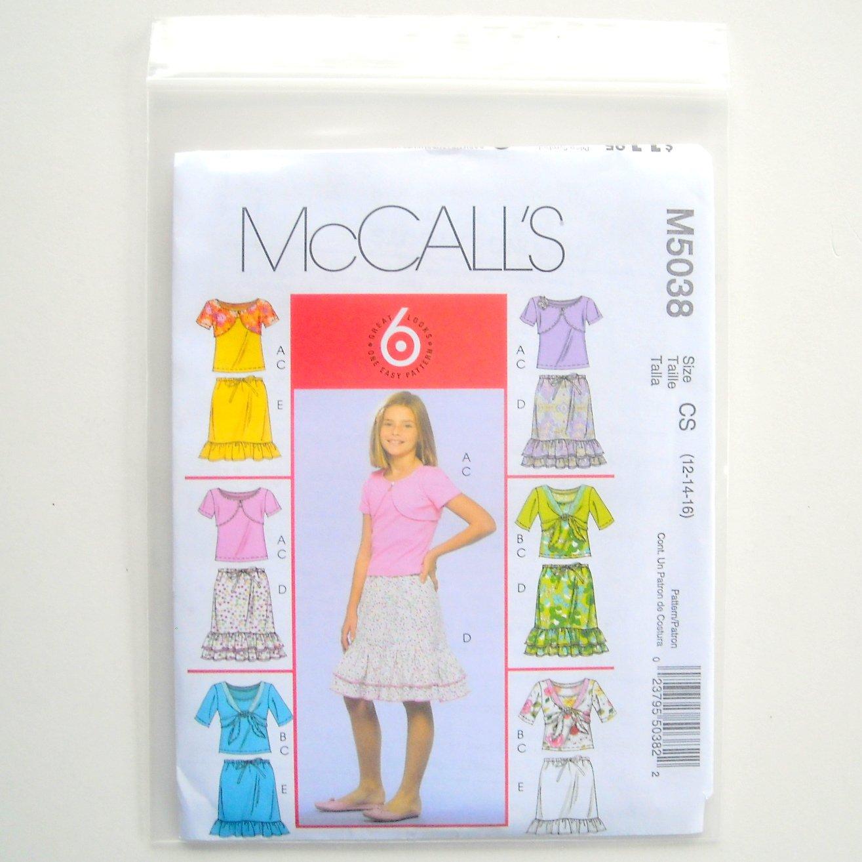 McCall Sewing Pattern M5038 Size 12 - 16 Girls Shrugs Tank Top Skirts