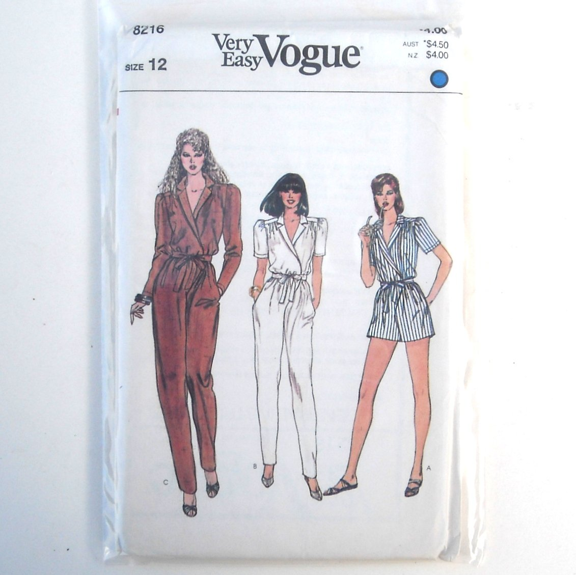 Misses Jumpsuit Size 12 Vintage Vogue Very Easy Pattern 8216