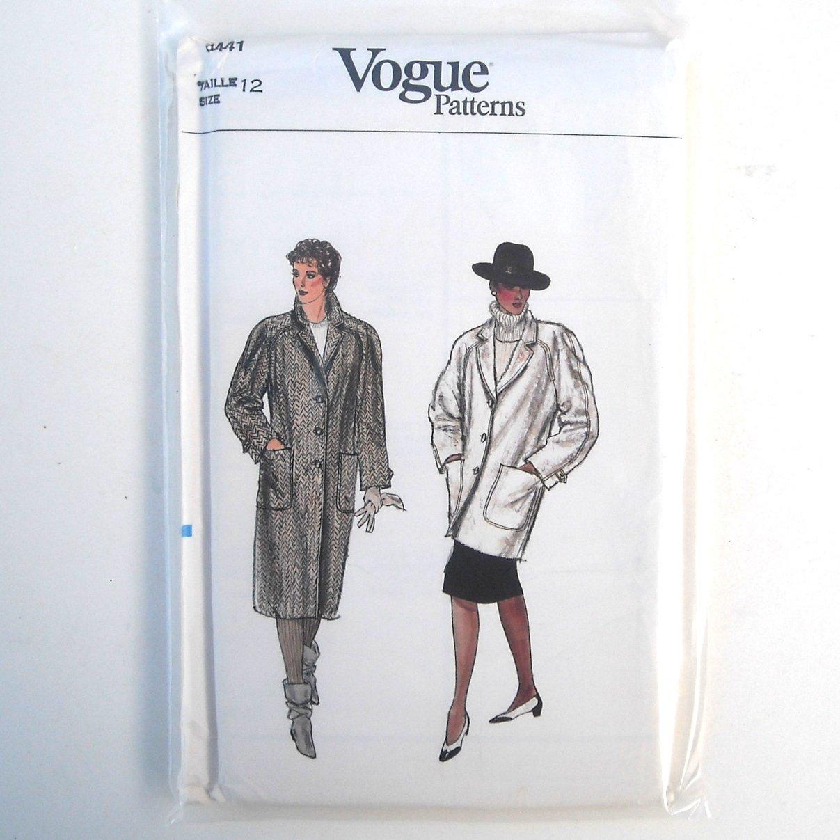 Misses Coat Size 12 Vogue Pattern 8441
