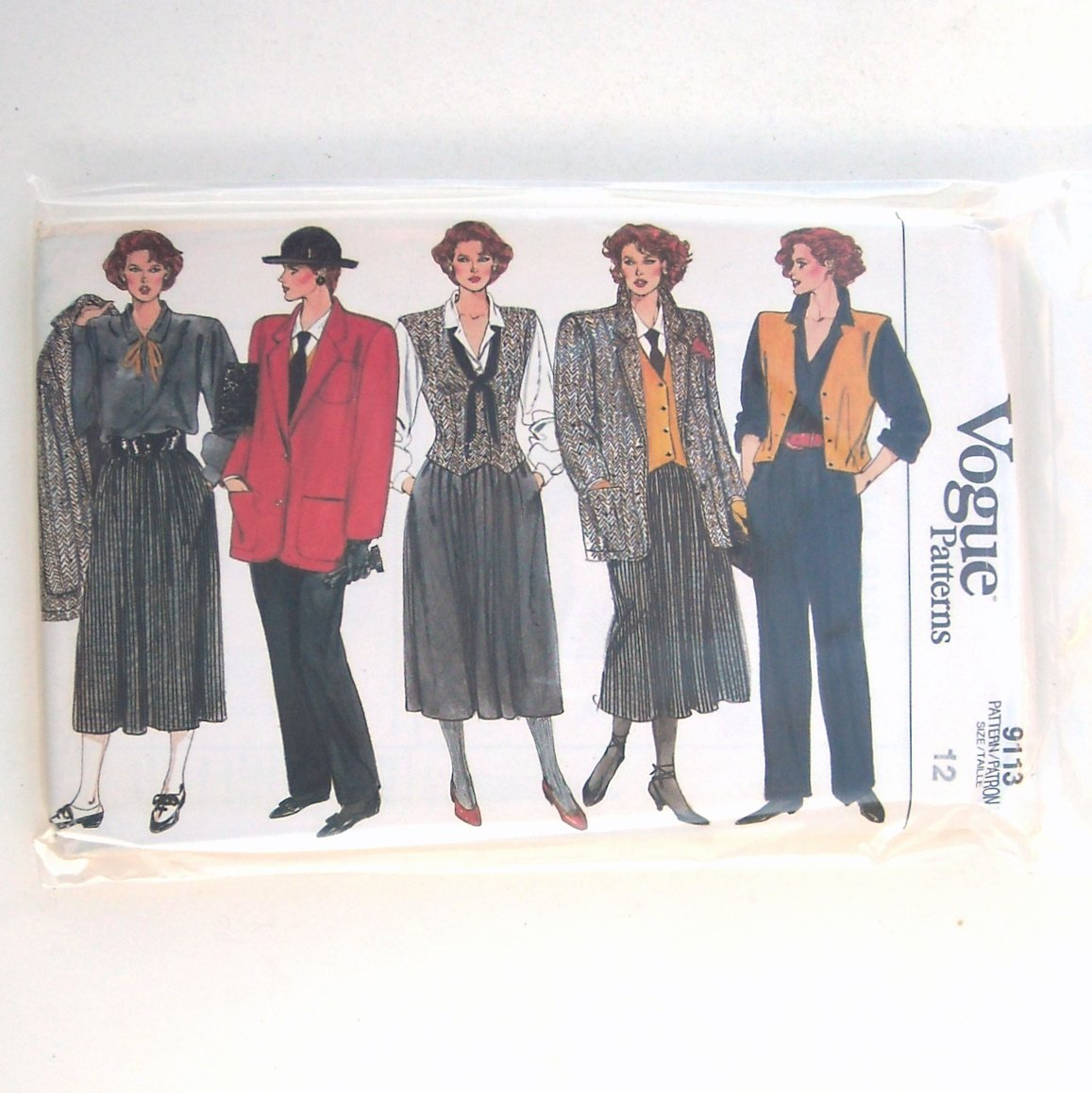 Vogue Pattern 9113 Size 12 Misses Jacket Skirt Pants Vest Blouse