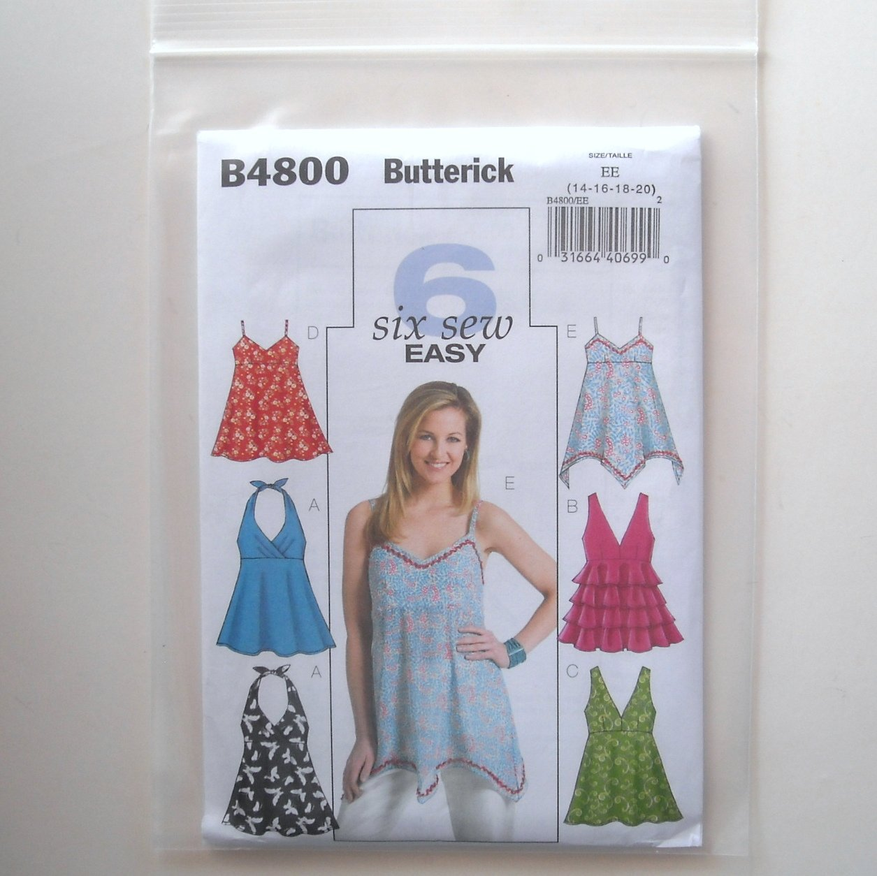 Butterick Pattern B4800 6 Sew Easy Size 14 - 20 Misses Top
