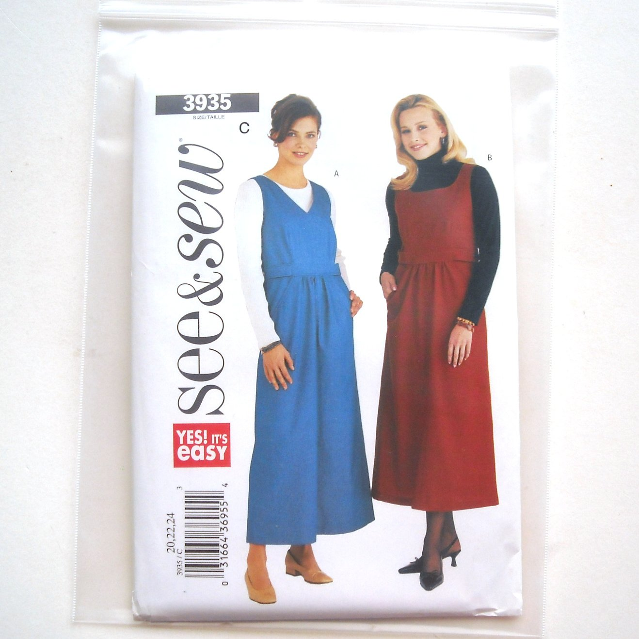 Misses Petite Jumper Size 20 - 24 See and Sew Easy Pattern 3935