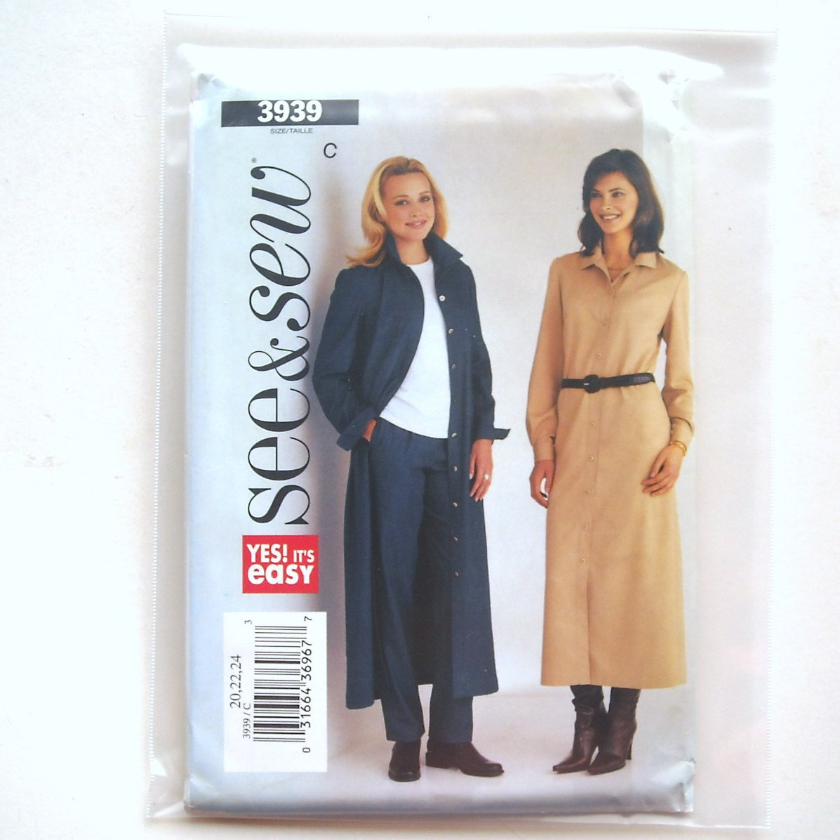 See and Sew Easy Pattern 3939 Size 20 - 24 Misses Dress and Pants