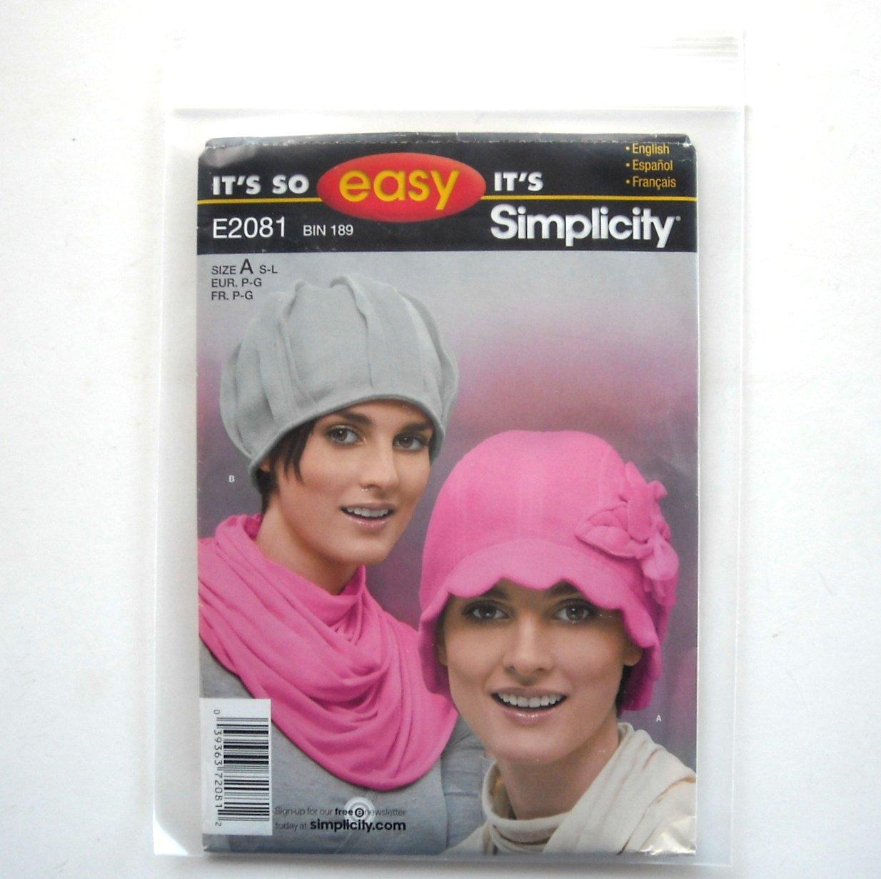 Misses Fleece Hats Size S M L So Easy Simplicity Pattern E2081