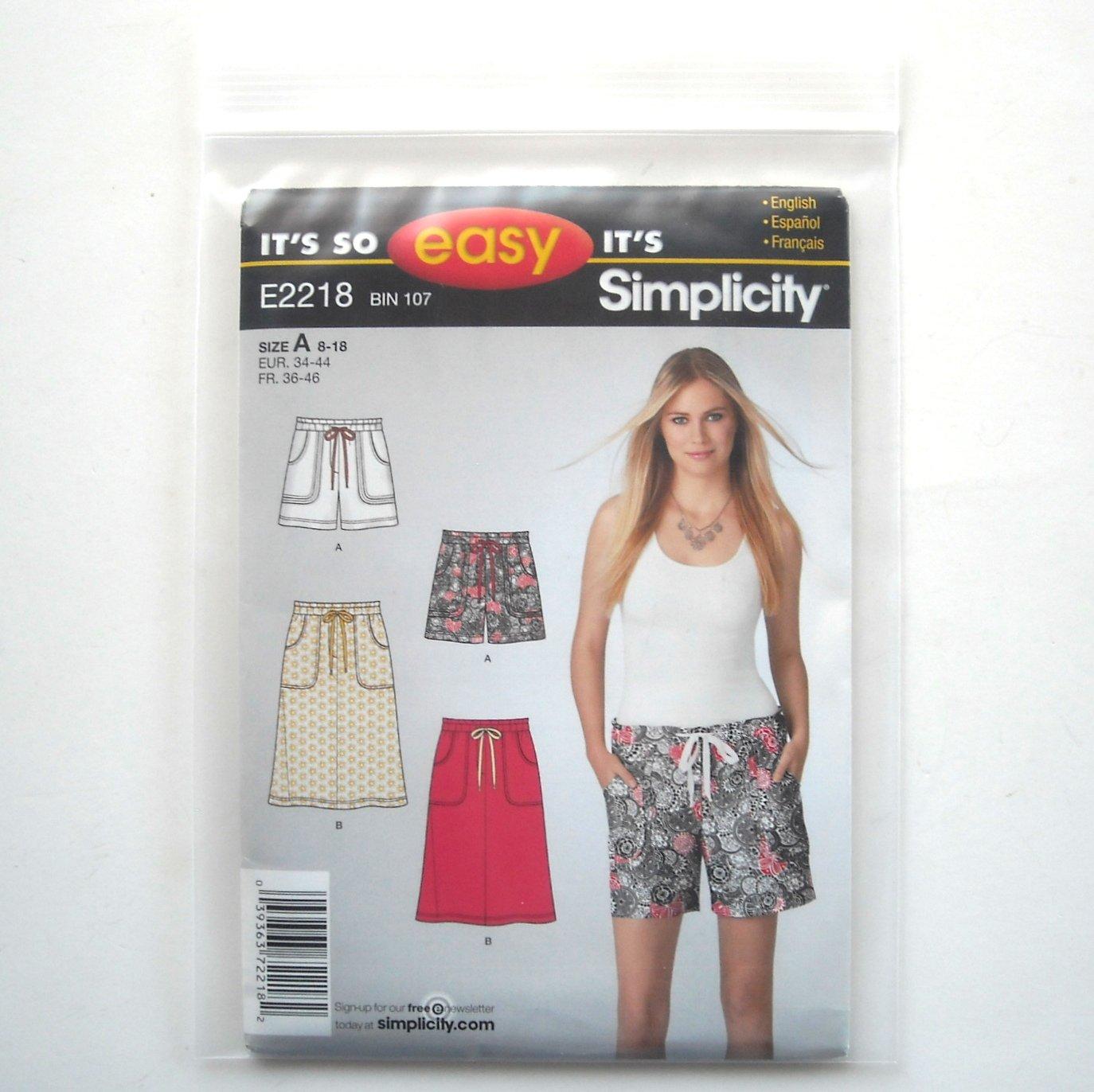 Misses Pull On Shorts Skirt 8 10 12 14 16 18 So Easy Simplicity Pattern E2218