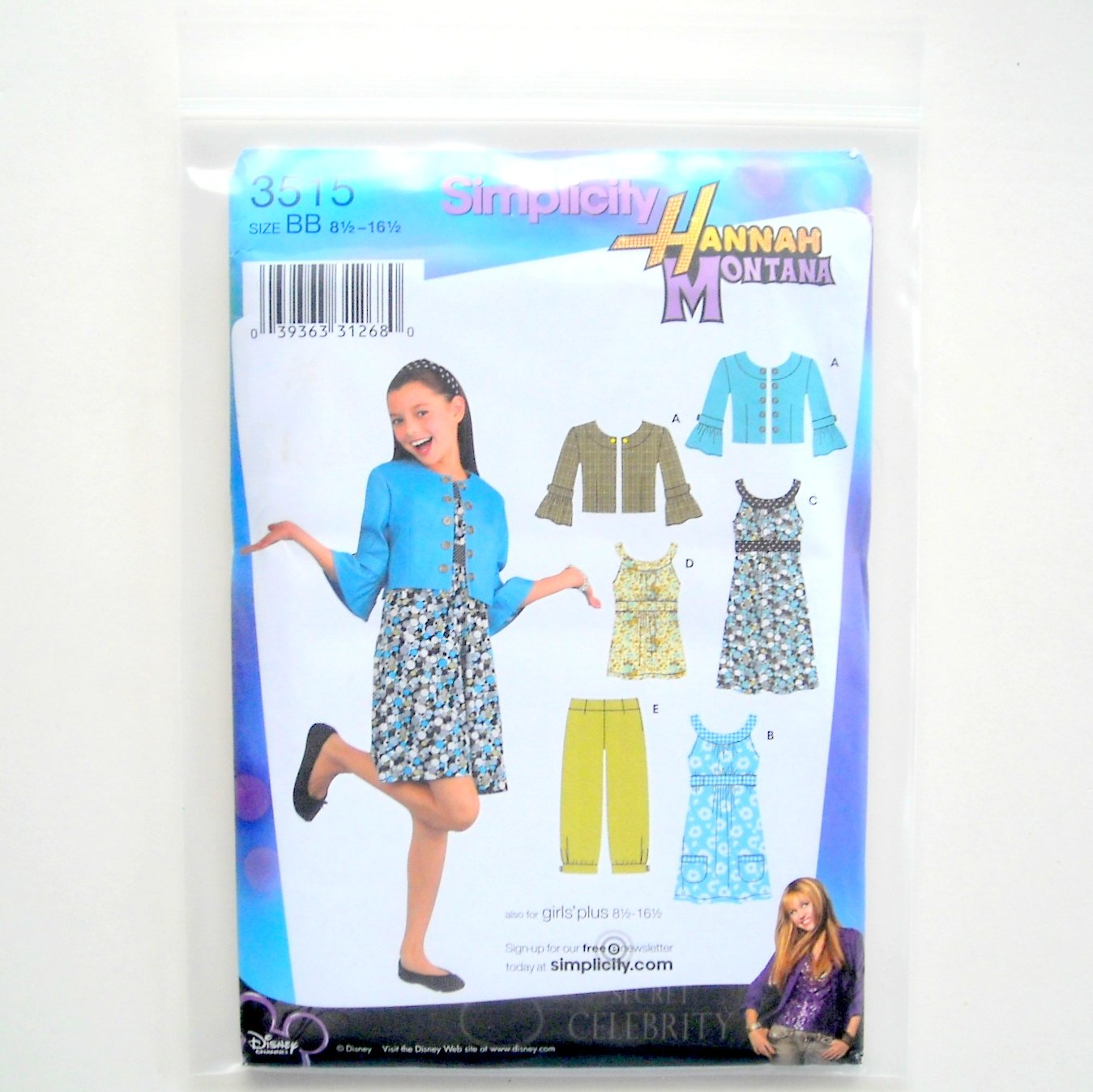 Girl Plus Jacket Pants Dress Disney Hannah Montana 8.5 - 16.5 Simplicity Sewing Pattern 3515