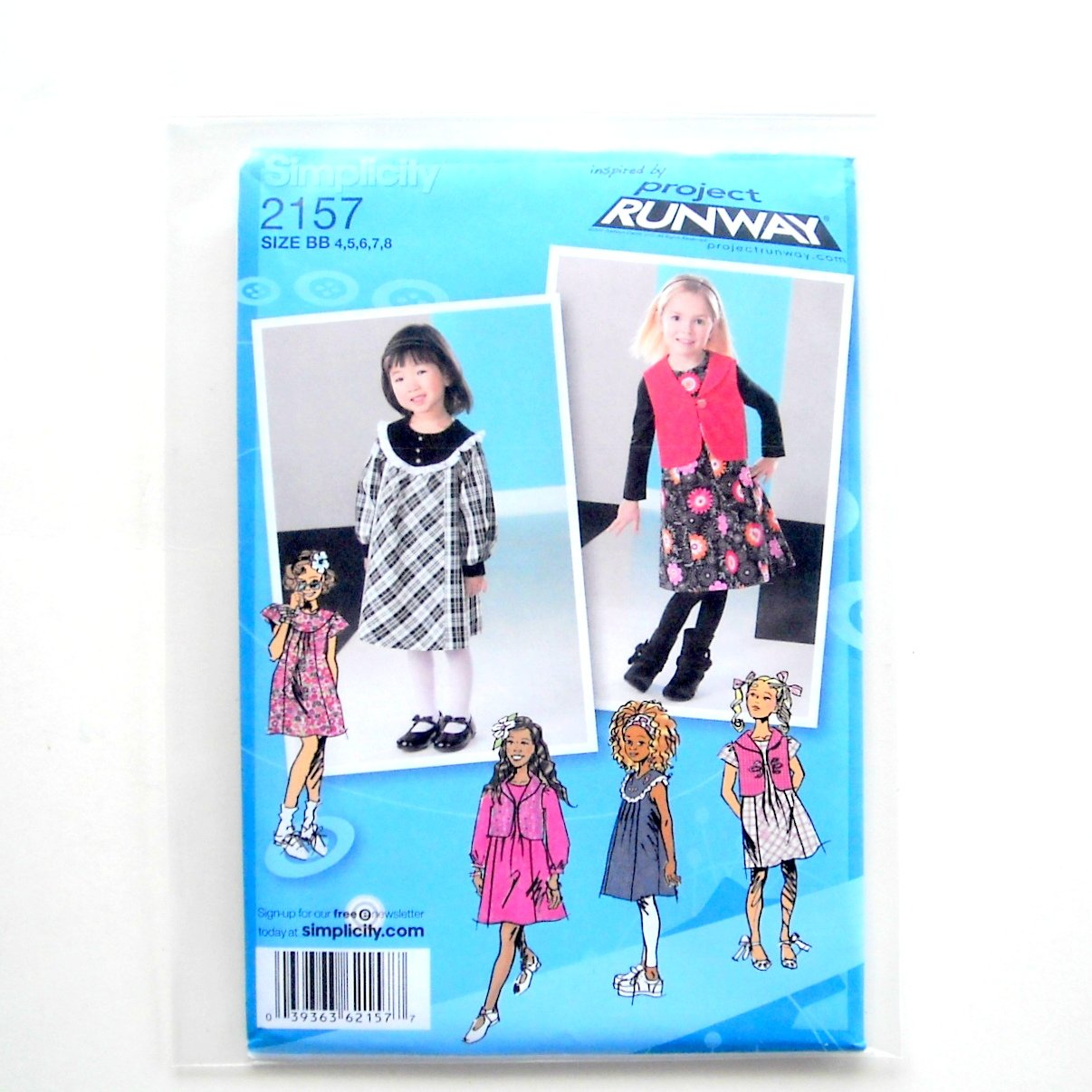 Toddlers Girls Dress Jumper Vest 4 - 8 Project Runway Simplicity Sewing Pattern 2157