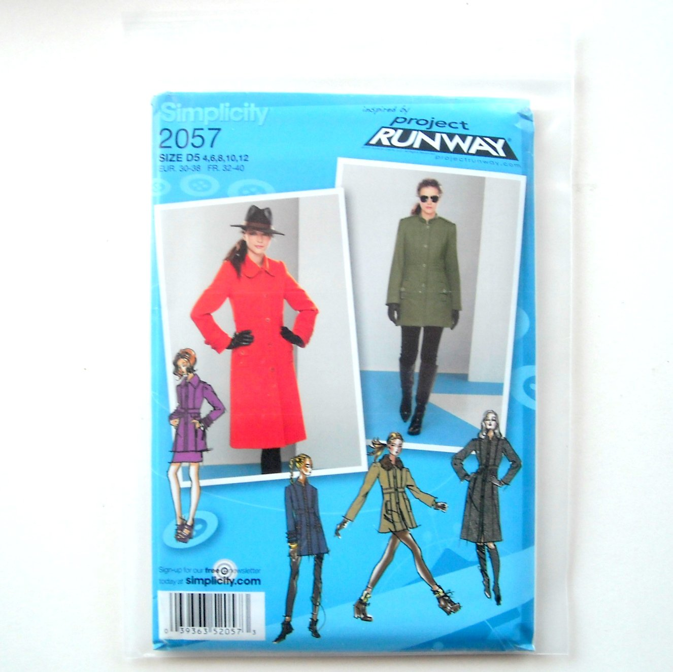 Womens Misses Coat Jacket 4 - 12 Project Runway Simplicity Sewing Pattern 2057
