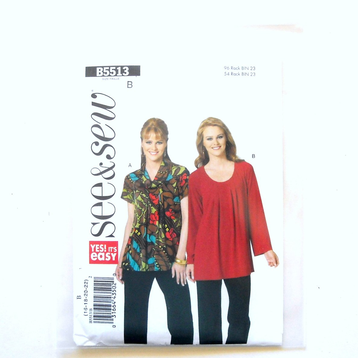 Misses Top Tunic 16 18 20 22 See Sew Butterick Pattern B5513