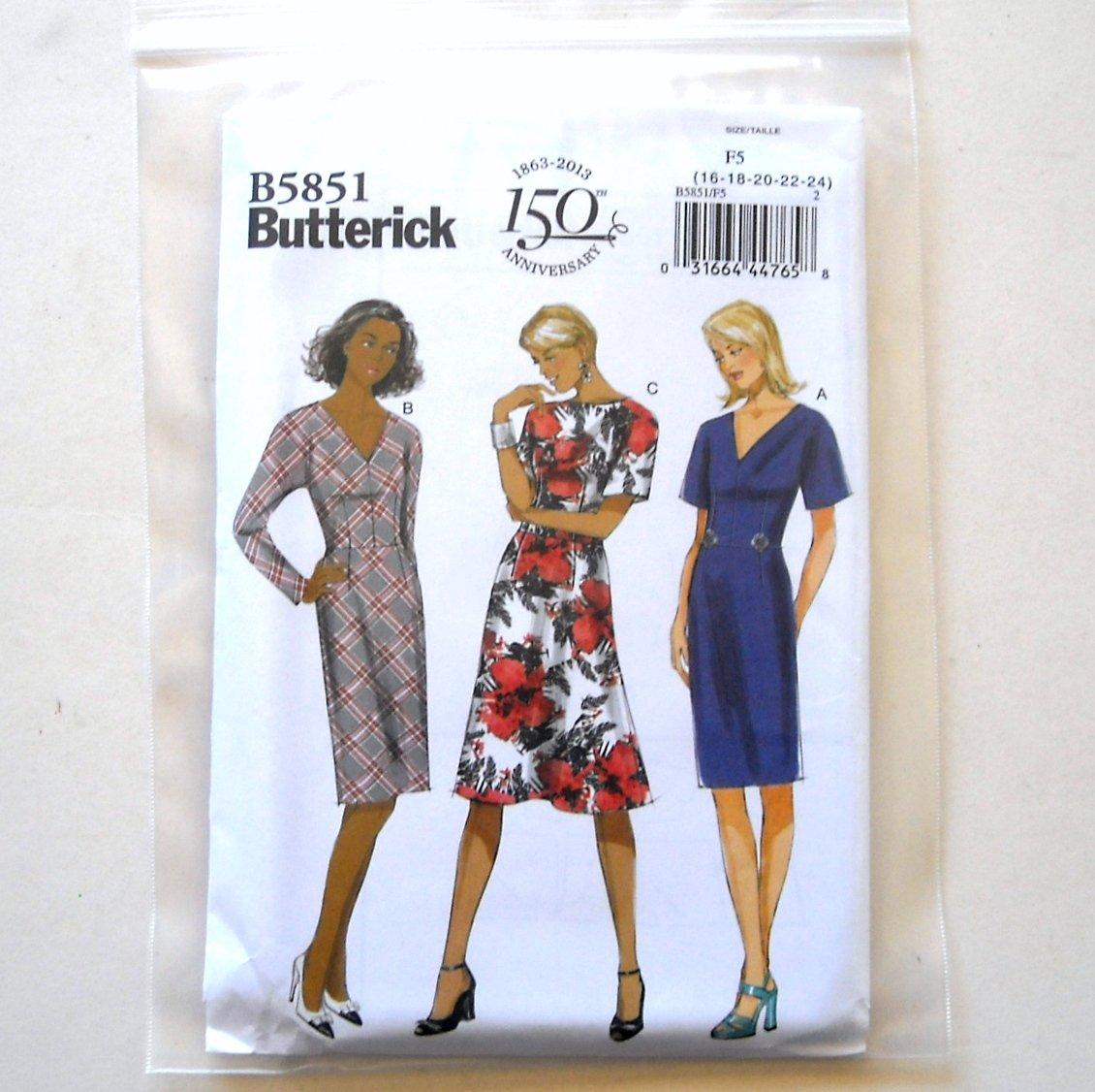 Misses' Misses' Petite Dress Size 16 - 24 Butterick Pattern B5851