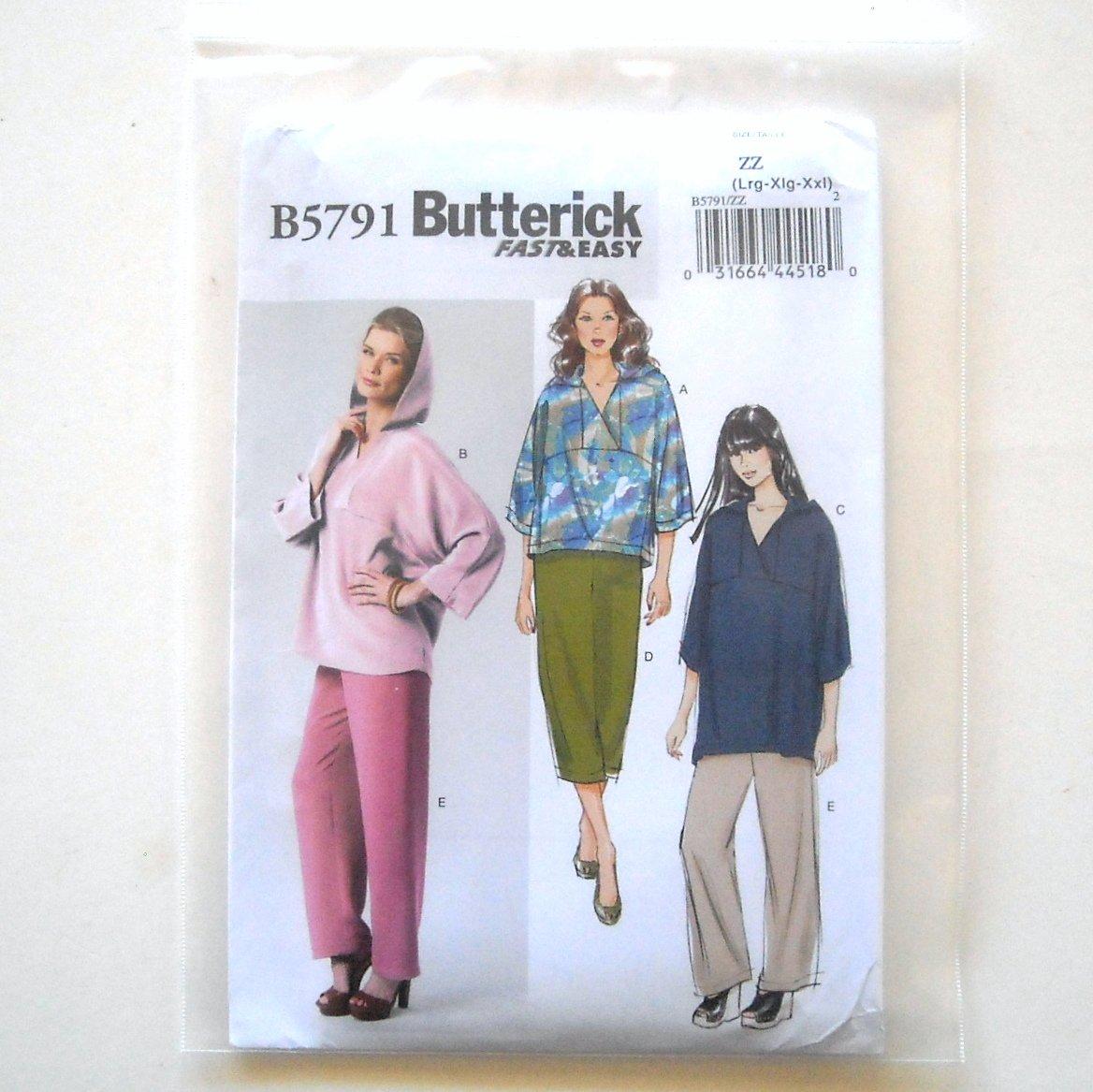 Misses' Top Tunic Pants Size L - XXL Butterick Pattern B5791