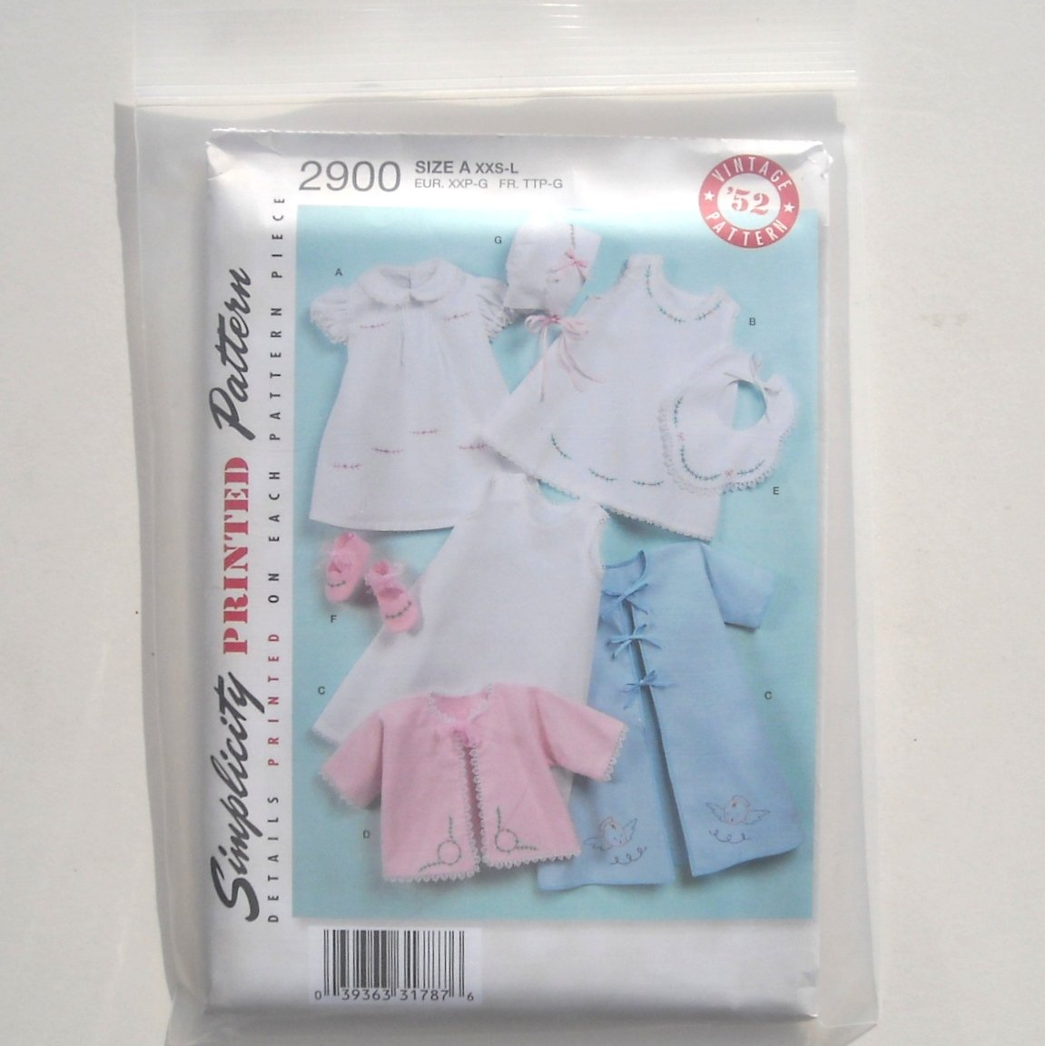 Simplicity Baby Layette Bonnet Vintage 1952 Sewing Pattern 2900
