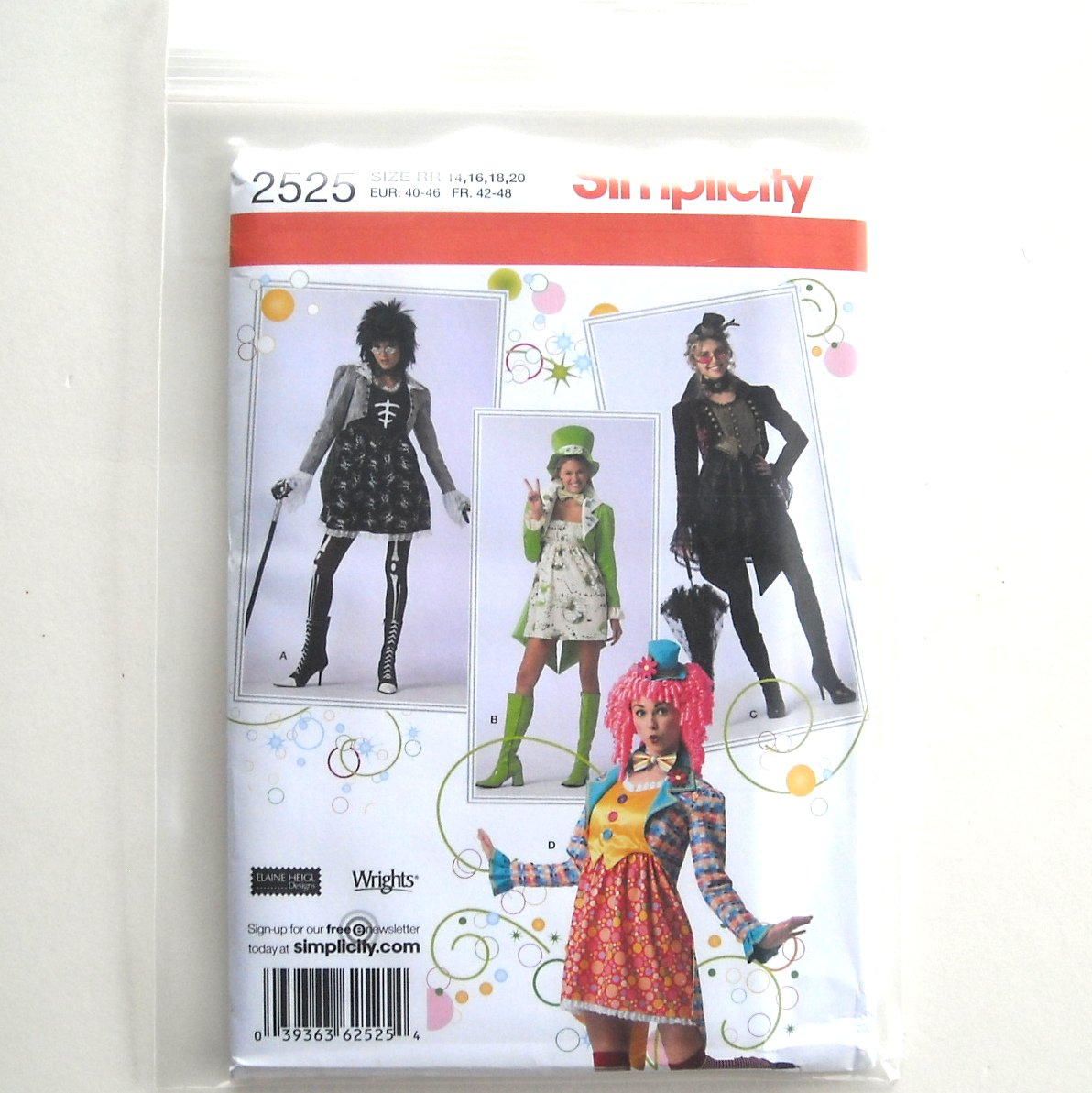 Misses Costumes 14 16 18 20 Elaine Heigl Simplicity Sewing Pattern 2525
