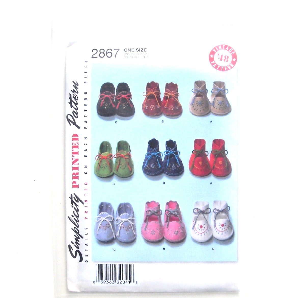 Baby Booties One Size Vintage 48 Simplicity Sewing Pattern 2867