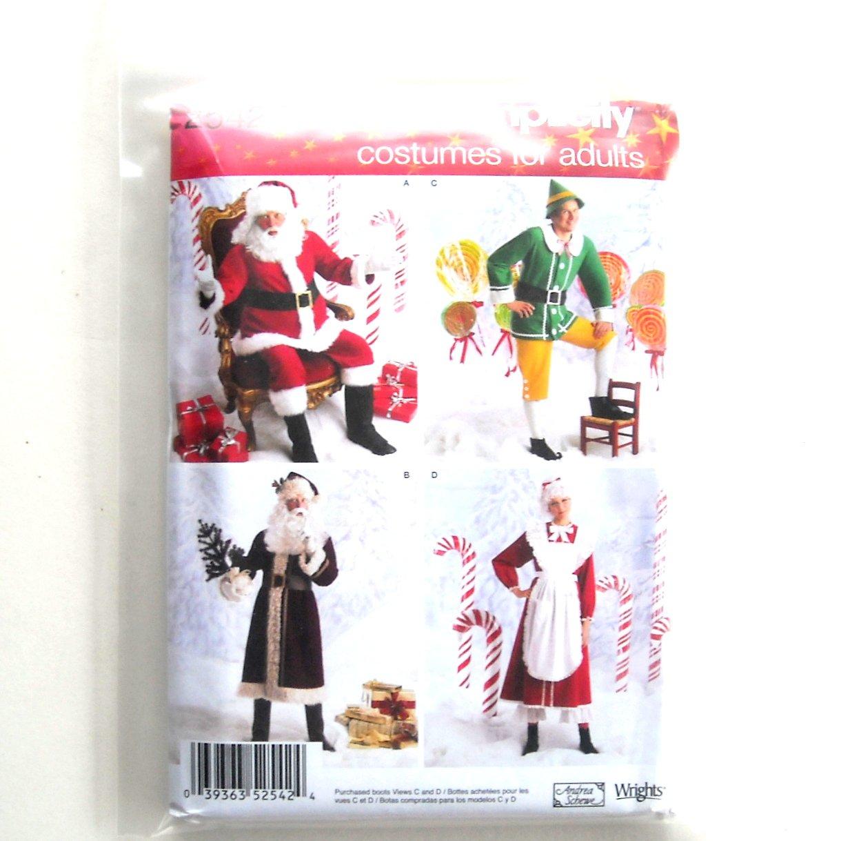 Santa Christmas Costumes Adults Size AA XS - M Andrea Schewe Simplicity Sewing Pattern 2542