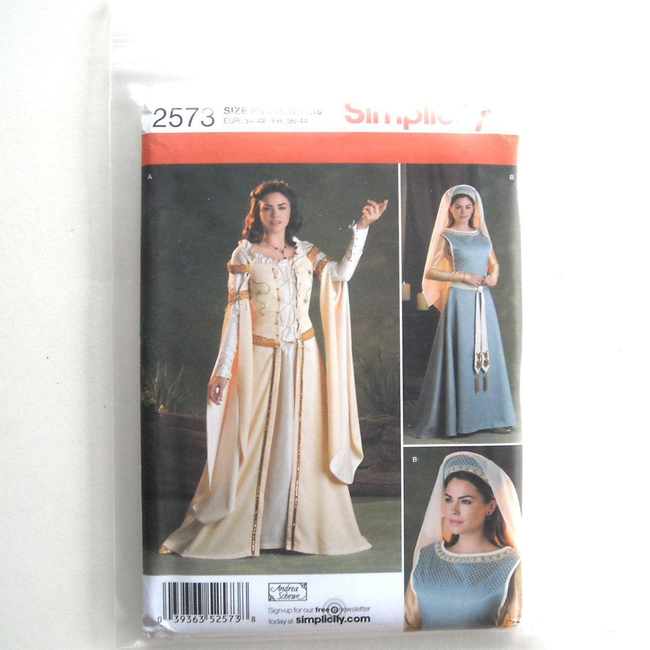 Misses Renaissance Historical Costumes Size 8 - 14 Andrea Schewe Simplicity Pattern 2573