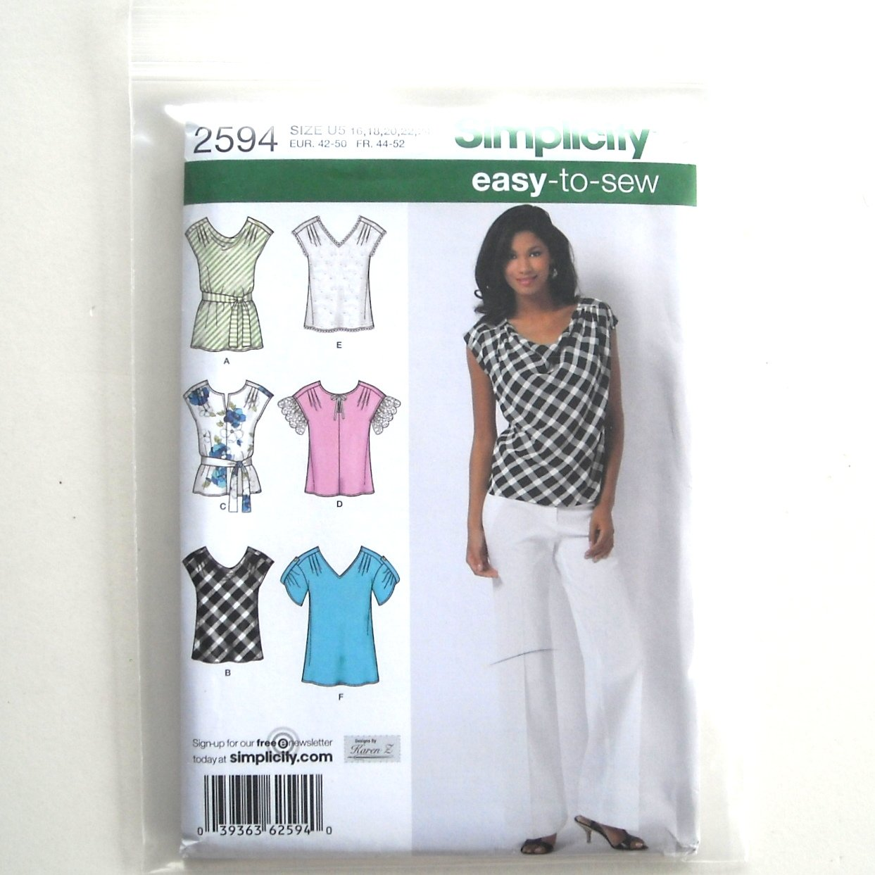 Misses Tops Size 16 - 24 Easy To Sew Simplicity Sewing Pattern 2594