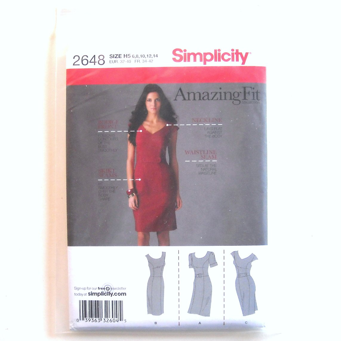 Misses Petite Dress Amazing Fit Size 6 - 14 Simplicity Sewing Pattern 2648