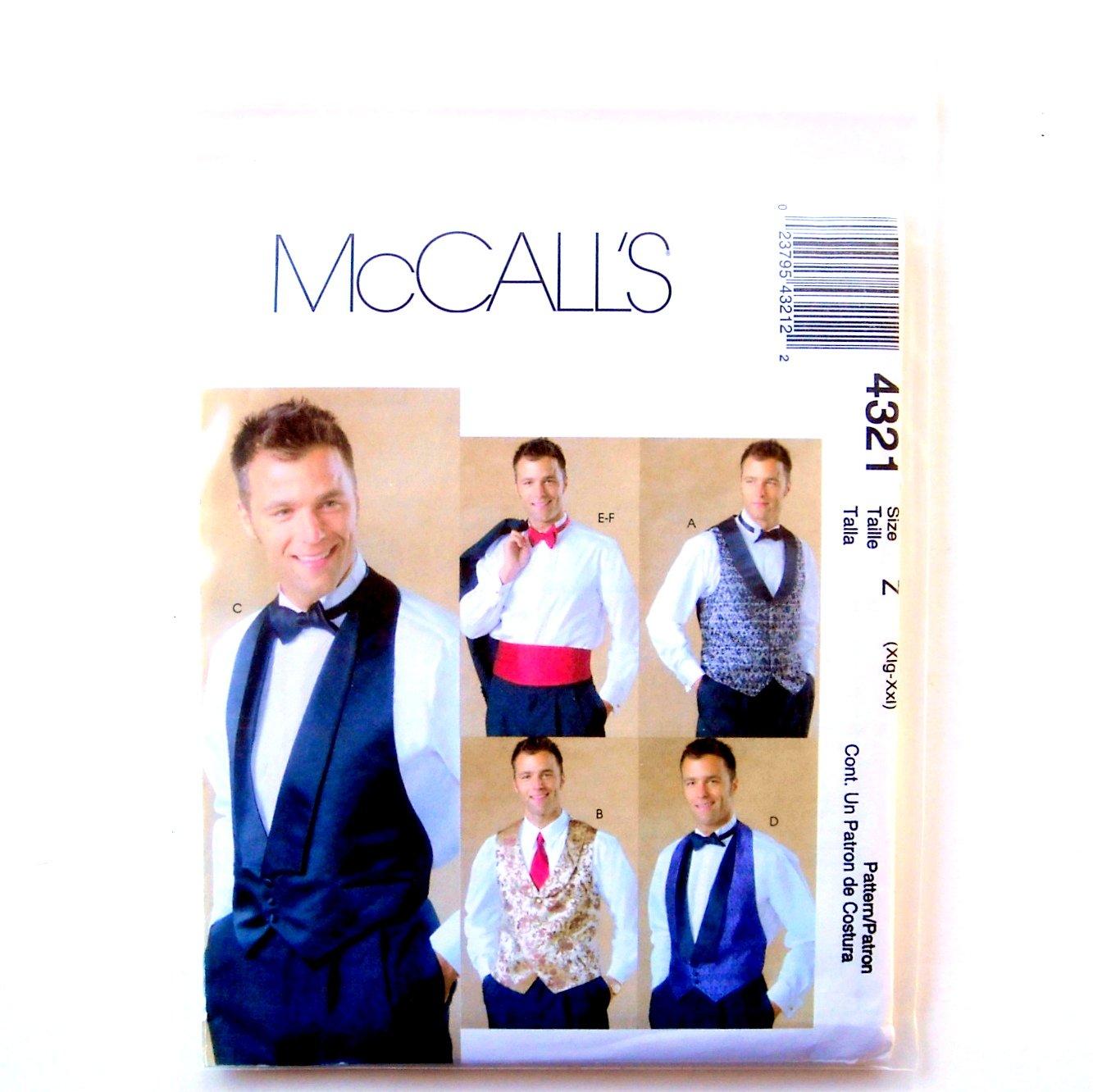 Mens Lined Vests Bow Tie Cummerbund XL - XXL McCalls Sewing Pattern 4321