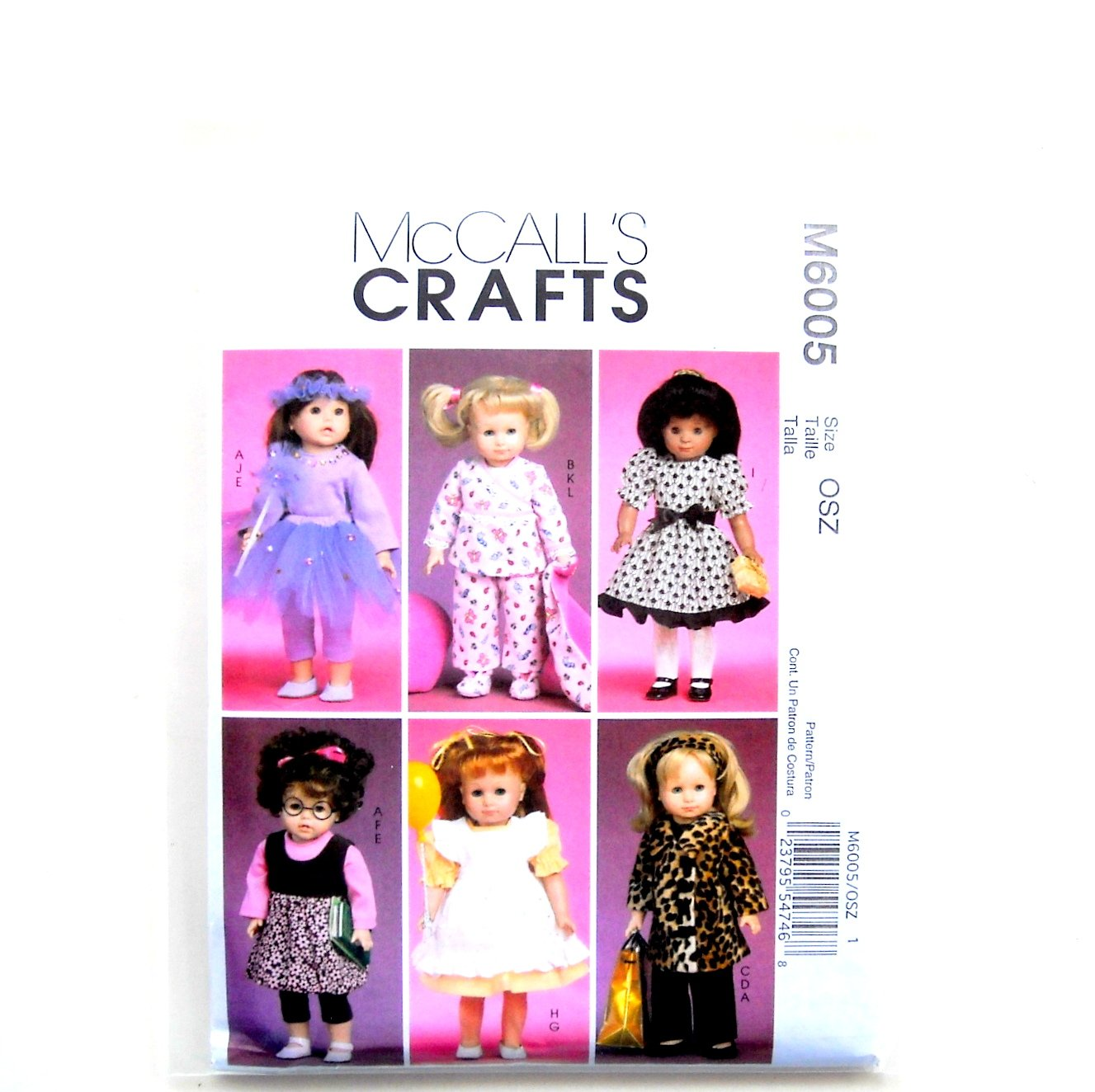 Clothes Accessories Doll Size OSZ McCalls Sewing Pattern M6005