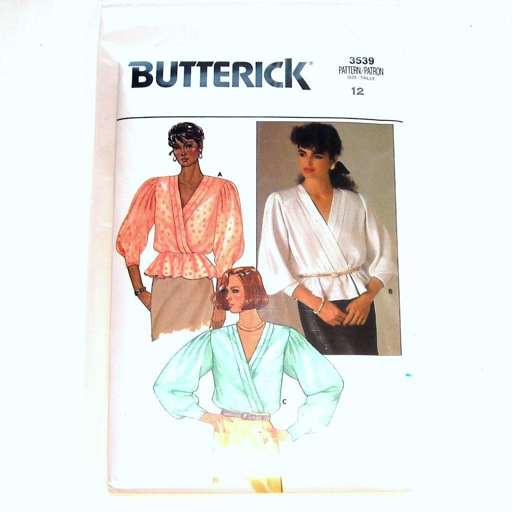 Blouse Misses Size 12 Vintage Butterick Pattern 3539