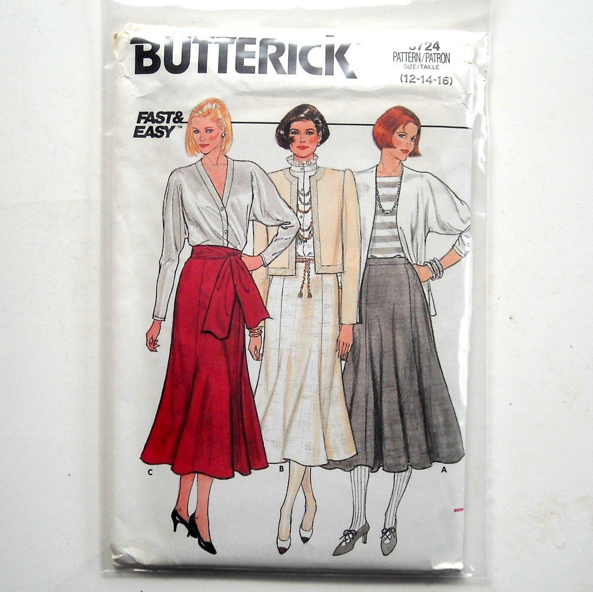 Skirt Misses 12 14 16 Vintage Butterick Sewing Pattern 6724
