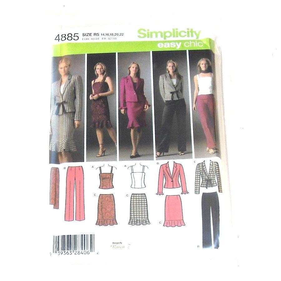 Misses Petite Top Pants Skirt Jacket Scarf Simplicity Sewing Pattern 4885